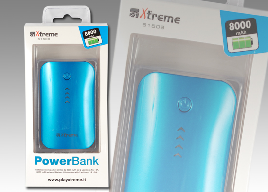 POWER BANK DA 8000mAh Blu